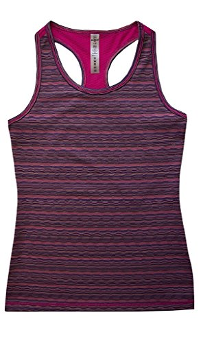 90 Degree by Reflex Kids - Girls Textured Zig Zag Tank Tops - Junior Activewear - Pink Purple Combo Medium (10)
