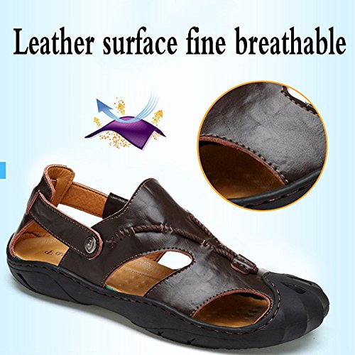 Coffee Closed Sandals Trekking Men's Sandals Outdoor Casual Toe Breathable Hollow Shoes Leather Beach Shoes Ow4dqw