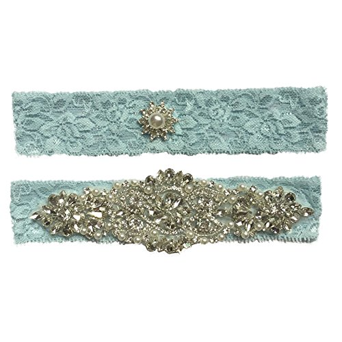 Bueer Wedding Bridal Lace Garter Set Keepsake Toss Tradition Vintage, 2pc (A4-Green)