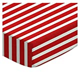 SheetWorld Round Crib Sheets - Primary Red Stripe Woven - Made In USA