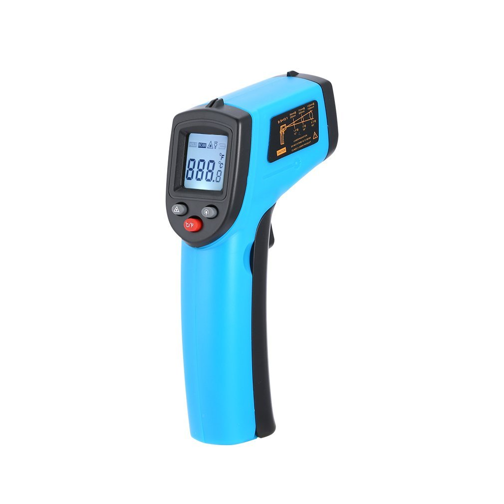 GAEA Non-Contact LCD Laser Infrared Digital Temperature Gun -50~380℃(-58~716℉), Instant-Read Handheld IR Infrared Thermometer with Backlight (Blue)