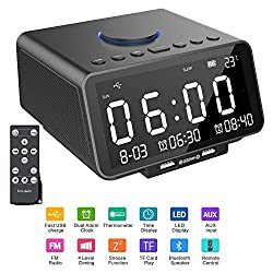 Alarm Clock Radio, Hetyre 5.5 Inch Digital Radio Alarm Clock, Bluetooth Speaker with Dual USB Port, Gradual Wake-up, Sleep Option, Temperature/LED Display/TF-Card/Date Display for Bedroom (Black)