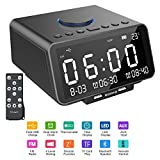 Hetyre Alarm Clock Radio, 5.5 Inch Digital Radio Alarm Clock, Bluetooth Speaker with Dual USB Port, Gradual Wake-up, Sleep Option, Temperature/LED Display/TF-Card/Date Display for Bedroom (Black)