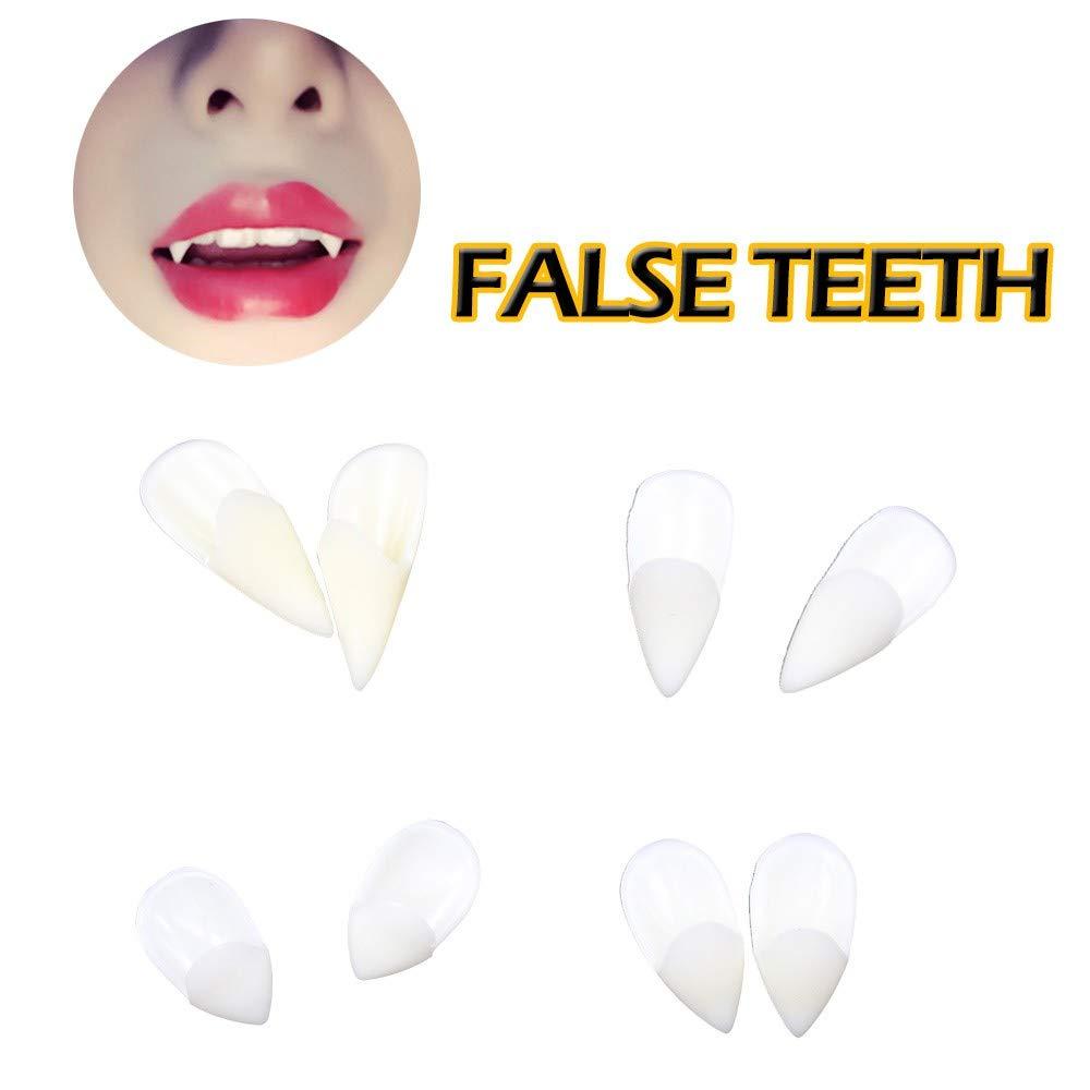 Vampire Teeth, 13mm Mounter Vampire Make-Up Set,Vampire Teeth Fangs Dentures Props For Halloween Costume Props Party