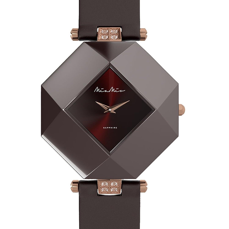 Mia-Mio Leder Braun Keramik Swiss Quarz Rose Gold Saphir Kristall PRECIOSA Damen Uhr