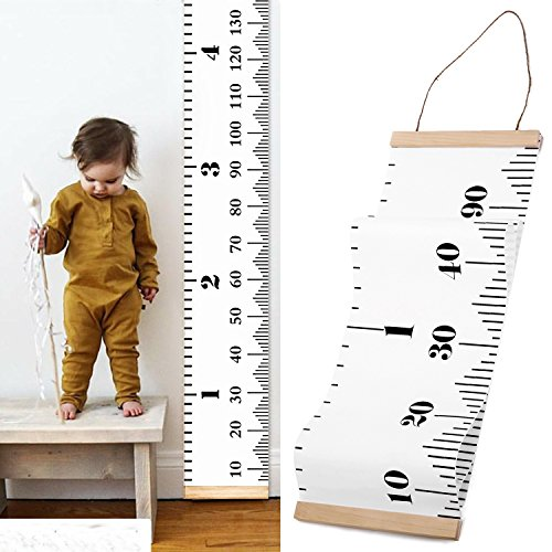 Baby Growth Chart Handing Ruler Wall Decor for Children Height Record Talltape for Kids Nursery Room Canvas Removable Roll Up (Hand Painted Wooden Growth Charts)