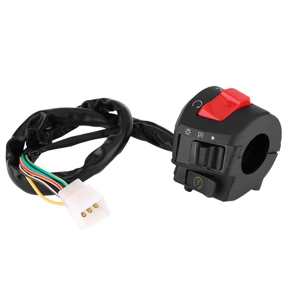 Qiilu 1 par de 7//8 pulgada Interruptor de montaje del manillar con bocina y control de ignici/ón Izquierda y derecha