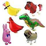 Balloon - SODIAL(R) 6pcs Walking Animal Balloons Birthday Party Decor Children Kids Gift - Including Rabbit, Dinosaur, Horse, Duck, Chicken, Pekingese