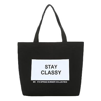 ac414f09a4 Ss-Lqlhy Fashion Women Canvas Eco Handbag School Travel Shopping Tote  Shoulder Bag Black