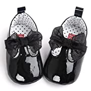 Voberry Toddler Baby Girls Boy's Sneaker Moccasins Anti-slip Soft Sole Bow Shoes (0~6Month, Black)