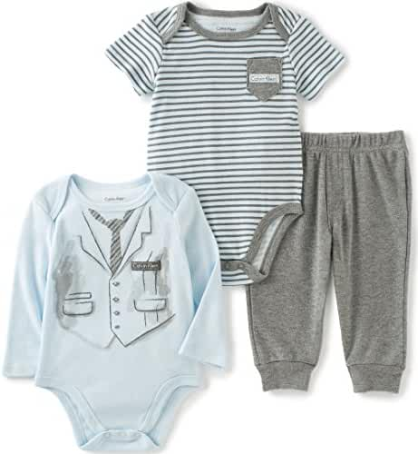 Calvin Klein Baby Boys' Screen Print and Stripes Bodysuit with Pants Set