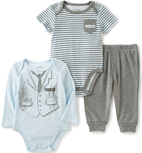 Calvin Klein Baby Screen Print and Stripes Bodysuit with Pants Set, Blue, 3/6 Months by Calvin Klein