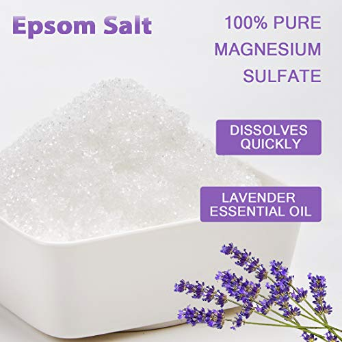 Spa Luxetique Premium Epsom Salt for Foot Soak, 2 lbs Magnesium Sulfate USP Bath Salt Formula, Sleep Well with Calming Lavender Essential Oil by spa luxetique (Image #4)