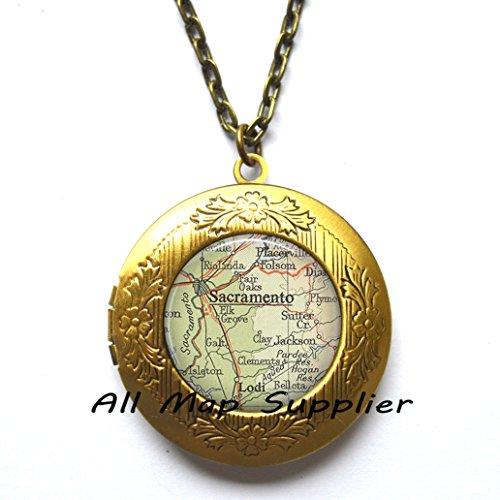 Charming Locket Necklace Sacramento map Locket Pendant, Sacramento Locket Pendant Sacramento map Locket Necklace map jewelry Sacramento jewelry,A0053