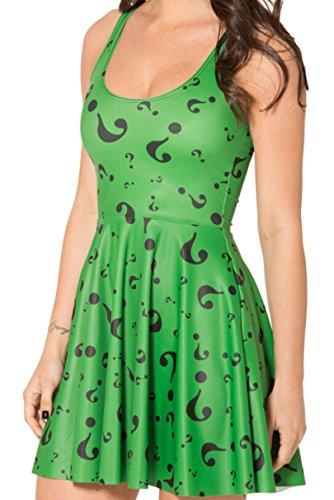 Women Riddler Reversible Skater Dress Vestidos Roupas Sleeveless Dresses (Riddler Dress)