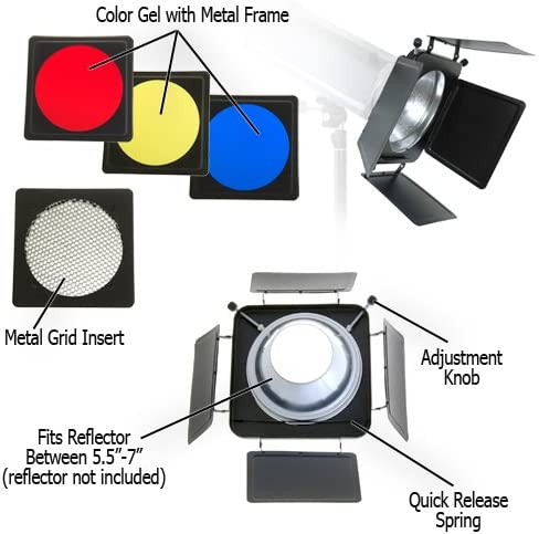 Fotodiox Universal Barndoor Kit with Honeycomb grid for Bowens Gemini Standard Classica Powerpack Barn Door R Series Rx Series and Color Gels and Pro Series Strobe Flash Light with 5.5-7 Reflector 45 Degree