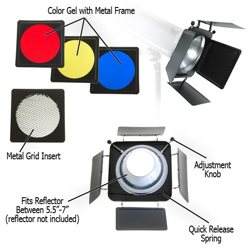 Novatron Flash - Fotodiox Fotodiox Universal Barndoor Kit with 45 Degree Honeycomb Grid & Color Gels, for Novatron M Series MonoLight M150, M300, M500, Bare Tube Head 2107FC Strobe Flash Light with 5.5-Inch - 7-Inch Reflector