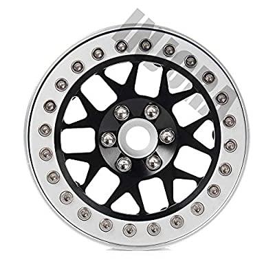 INJORA 2.2 Inch Beadlock Wheel Rims for 1/10 RC Rock Crawler Axial SCX10 RR10 Wraith 90056 Traxxas TRX4,4Pcs/Set,Aluminum Alloy (Silver & Black): Toys & Games