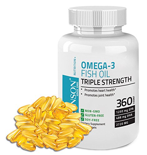 Bronson Omega 3 Fish Oil Triple Strength 2720 mg 1250 EPA 488 DHA Non GMO, Gluten Free, 360 Softgels