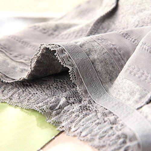 Ropa Interior Del Abdomen De La Cintura De Las Mujeres De Algodón Paquete Entrepierna De Algodón Hip Hop Cuerpo De Los Pantalones Del Cordón Atractivo Atractivo De Encaje Gray