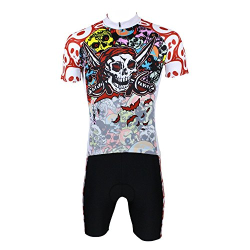 QinYing Mens Colorful Halloween Ghost Skull Cycling Jersey Shorts set - Shipping Canada To Usps Express
