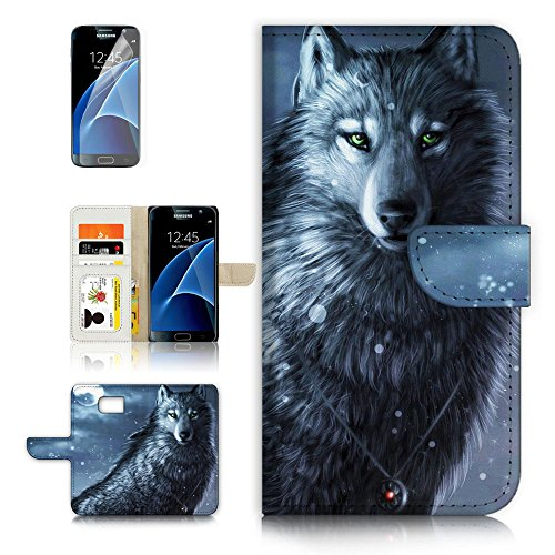 (For Samsung Galaxy S7 ) Flip Wallet Style Case Cover, Shock Protection Design with Screen Protector - B31014 Night Wolf