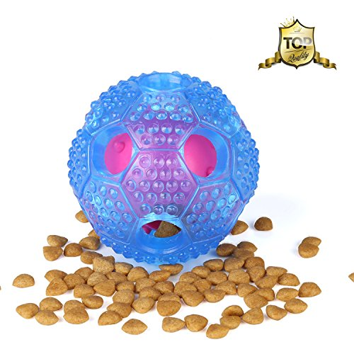 Airsspu Interactive Dog Toy - IQ Treat Ball Food Dispensing Toys for Small Medium Large Dogs Durable Chew Ball - Nontoxic Rubber and Bouncy Dog Ball - Cleans Teeth (Blue)