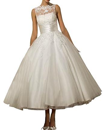 Erosebridal Womens Tea Length Wedding Dresses Lace Appliques Bridal Gowns Satin Ivory US2