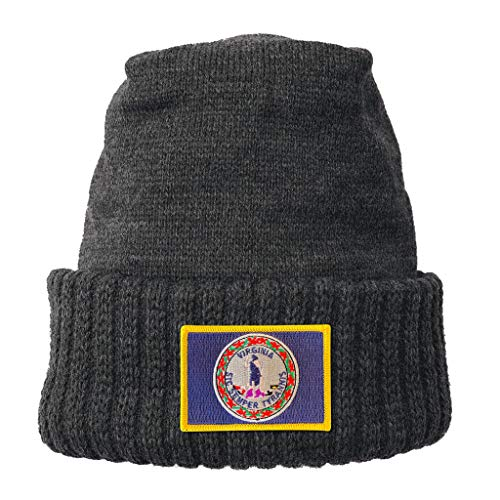 (Homeland Tees Virginia State Flag Patch Cuff Beanie Charcoal)