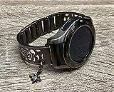Brushed Gunmetal Black Bracelet For Huawei Watch 2 Classic Handmade Flowers Design Huawei Watch Band Black CZ North Star Jewelry Charm Adjustable Size Huawei Smartwatch Bangle