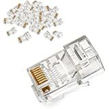 UGREEN RJ45 Connector Cat5E Cat5 Crimp Modular Connector 50 Pack Ethernet Network Cable Plug Crystal 8P8C