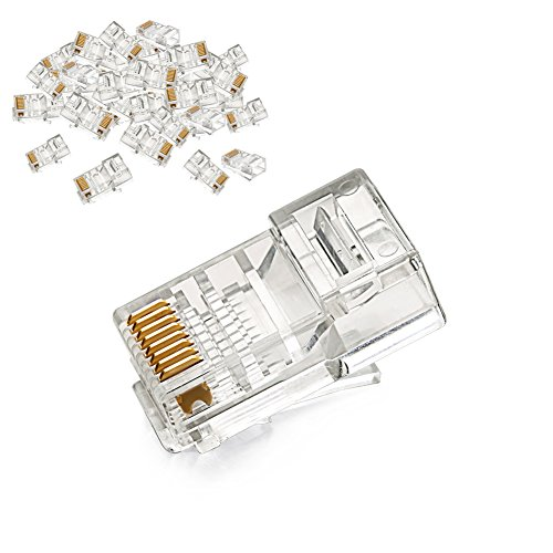 UGREEN RJ45 Connector Cat5E Cat5 Crimp Modular Connector 50 Pack Ethernet Network Cable Plug Crystal 8P8C (Network Modular Plug)