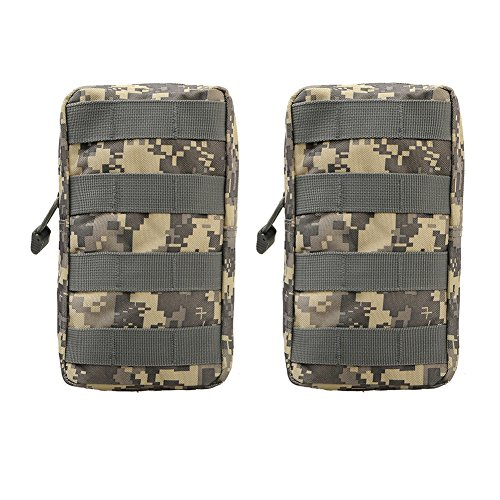 ALTTIMERY 2-Pack Tactical Molle EDC Utility Pouch Compact Water-resistant Gadget Tool Bag (ACU (Acu Chest Rigs)