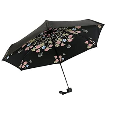 Queenie Butterfly Flower Form Design High Density Black Coating Mini Portable Folding Travel Pocket Umbrellas Anti UV Windproof Waterproof