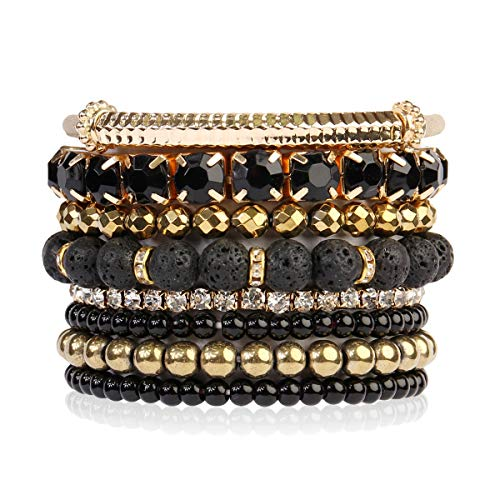(RIAH FASHION Multi Color Stretch Beaded Stackable Bracelets - Layering Bead Strand Statement Bangles ([S-M] Lava Gold))