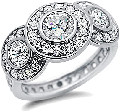 Double Accent Sterling Silver Rhodium Plated Wedding Ring Round CZ Three Stone Halo Eternity Band Engagement Ring