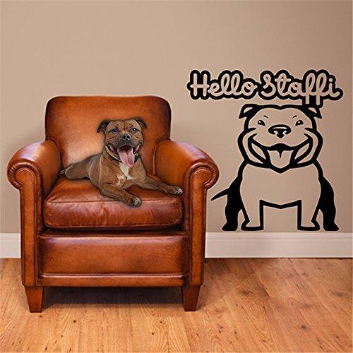 Puaer Vinyl Peel and Stick Mural Removable Decals Hello Stafford Bulldog for Nursery Kids Room (Hello Bulldog)