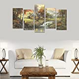 Custom Custom Oil Painting Print paintings nature landscapes trees autumn artistic Canvas Print Bedroom Wall Canvas Decoration Hotel Fashion Design Wall Art 5 Piece Oil Paintings Canvas (No Frame)