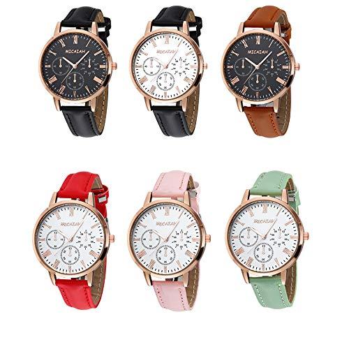 Unisex Women Men Wrist Watch Quartz Big Dial 38MM Leather Strap Band Bracelet for Boys Girls Wholesales 6 Pcs Fiiliip Mixed Color (Style 2)