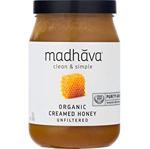 MADHAVA Organic Amber Honey, Creamed, 22 oz. Jar (Pack of 1) | Natural Sweetener, Sugar Alternative | 100% Pure Organic Honey | Pure Honey | USDA Organic | Non GMO | Liquid Sweetener