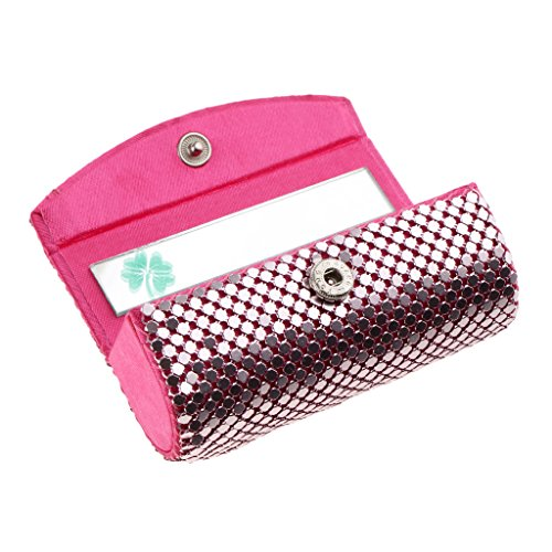 Baoblaze Fashion Women Shiny Bling Lipstick Case Silky Satin Fabric Cosmetic Case with Mirror Four-leafed Clover, Snap-on Closure- 6 Colors Optional - Pink