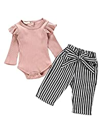 SUBBRY Girls Cotton Jumpsuit with Flying Sleeves Long Sleeves Black Striped Belt Trousers