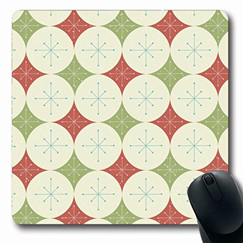 Ahawoso Mousepad Oblong 7.9x9.8 Inches Christmas Stars Diamonds Pattern Holidays Mid Abstract Atomic Circles Disco Geometric Office Computer Laptop Notebook Mouse Pad,Non-Slip Rubber