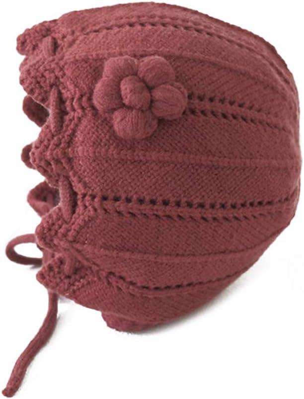 ATATMOUNT Couleur Unie Fleur b/éb/é tricot/é Chapeau /à Lacets Filles Hiver Automne Chapeaux Princesse Coupe /élastique Enfants Bonnet Accessoires