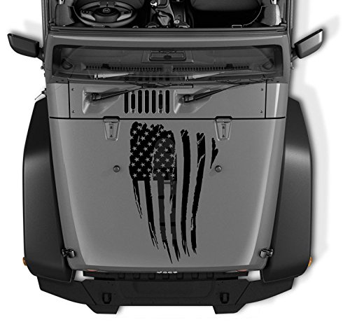 COZA Reversed Jeep Wrangler Decal Tattered Distressed USA American Flag USA Made + Free Decal (Black Matte) For Sale