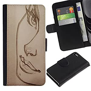 Leather Case Wallet Flip Card Pouch Soft Holder for Apple Iphone 4 / 4S / CECELL Phone case / / beautiful sketch lashes lips charcoal art /