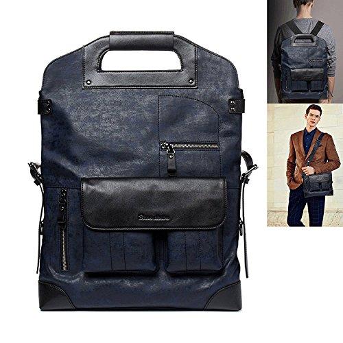 Denim Leather Satchel (BISON DENIM Multipurpose Classic Messenger Bag Handbag Leather Shoulder Bag Briefcase Satchel Black)