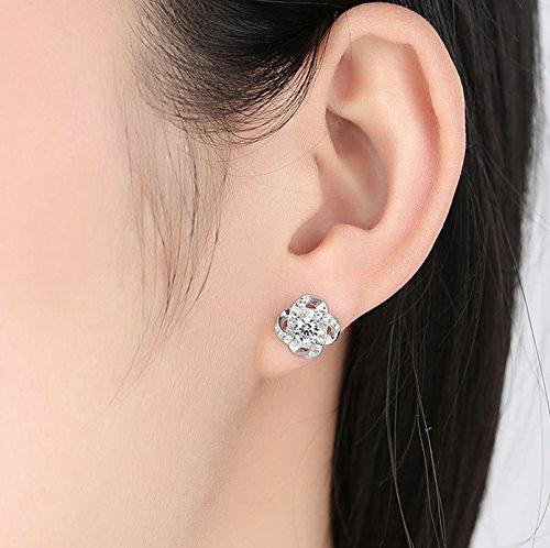 Joyfulshine Women Earrings Studs Silver Plated Cubic Zirconia Eternal Love Earrings