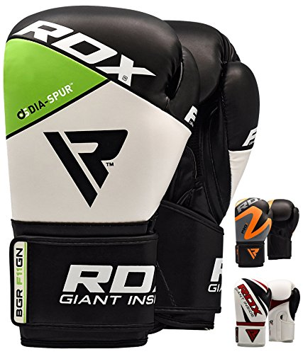 RDX Boxing Gloves, Training Punching Bag Sparring Maya Hide Leather Muay Thai Mitts Kickboxing, 16Oz, Green - Combo Right Hand Gel