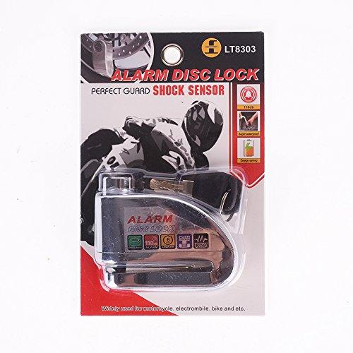 iztoss motocicleta cerradura de seguridad Disco anti Ladrón del acelerador Alarma Candado de cadena, Plateado